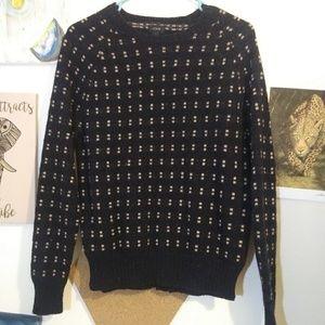 Navy brown print sweater